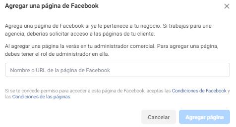 6.3. Agregar Pagina en el Administrador de negocios de Facebook